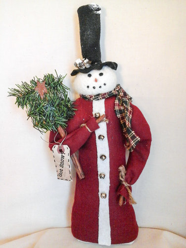 Primitive Snowman with Tree